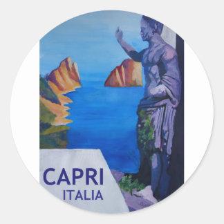 Adesivo Redondo Opinião de Capri com o poster antigo da estátua do