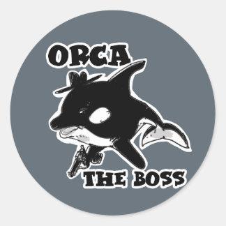 Adesivo Redondo orca a ilustração engraçada do estilo dos desenhos