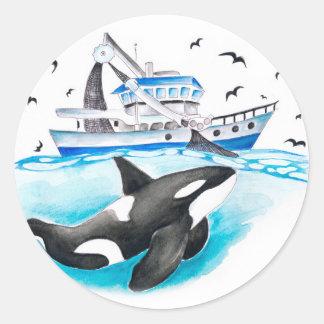 Adesivo Redondo Orca e o barco