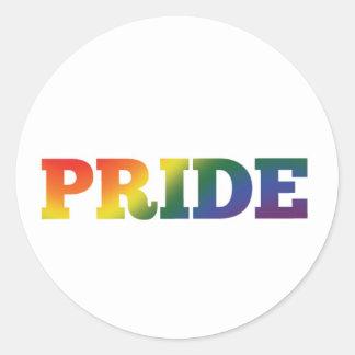 Adesivo Redondo Orgulho gay do arco-íris no branco