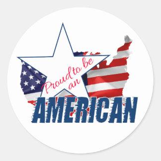 Adesivo Redondo Orgulhoso ser um americano