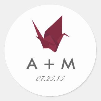 Adesivo Redondo Origami Cranes o monograma do casamento