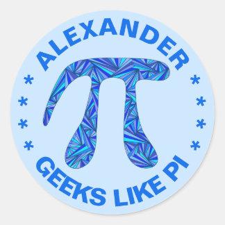 Adesivo Redondo Os adultos azuis N do geek da matemática do