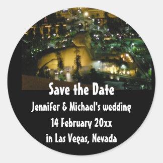 Adesivo Redondo Os casamentos de Las Vegas salvar a data