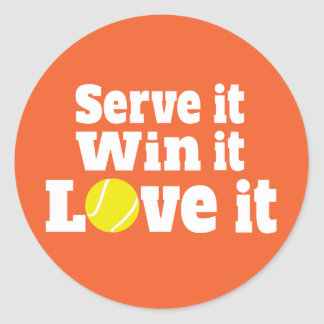 Adesivo Redondo Os esportes do tênis servir-lo vitória ele amor