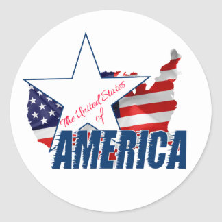 Adesivo Redondo Os Estados Unidos da América 4o julho