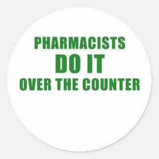 Adesivo Redondo Os farmacêuticos fazem-no sobre o contador
