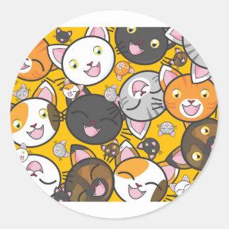 Adesivo Redondo Os gatos de riso