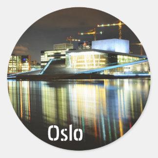 Adesivo Redondo Oslo, Noruega na noite