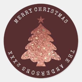 Adesivo Redondo Ouro cor-de-rosa Borgonha Bronze1 da árvore do