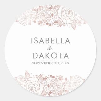 Adesivo Redondo Ouro cor-de-rosa & casamento floral chique do