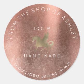 Adesivo Redondo Ouro cor-de-rosa do unicórnio sujo Handmade da Web