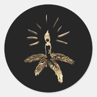 Adesivo Redondo Ouro do preto do castiçal do Natal elegante