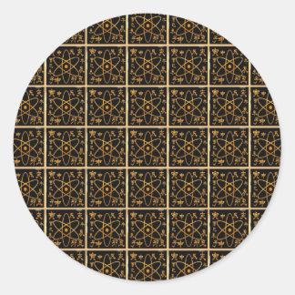 Adesivo Redondo Ouro dourado nuclear atômico do átomo NANO da