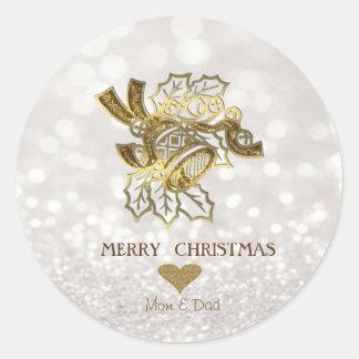 Adesivo Redondo Ouro elegante Bell de Fayu do Natal, Bokeh