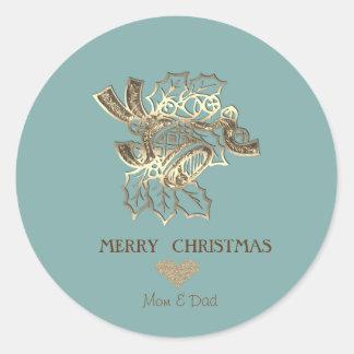 Adesivo Redondo Ouro elegante Bell do falso do Natal