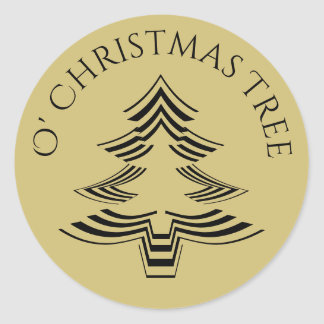 Adesivo Redondo Ouro geométrico e preto da árvore de Natal de O
