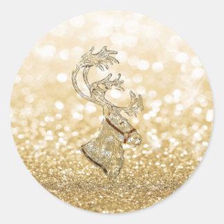 Adesivo Redondo Ouro Glittery romântico da faísca da rena do