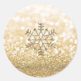 Adesivo Redondo Ouro Glittery romântico da faísca do inverno do