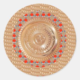 Adesivo Redondo OURO gravado símbolo da mantra n OmMantra de