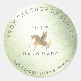 Adesivo Redondo Ouro Handmade da hortelã do cavalo de Pegasus da