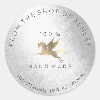 Adesivo Redondo Ouro Handmade da prata do cavalo de Pegasus da Web