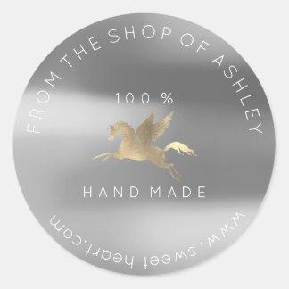 Adesivo Redondo Ouro Handmade das cinzas de prata de Pegasus da