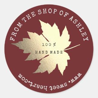Adesivo Redondo Ouro Handmade de Borgonha da Web da folha de bordo