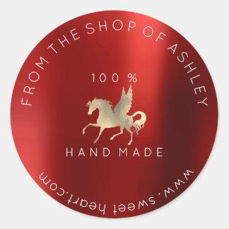 Adesivo Redondo Ouro Handmade de Borgonha do cavalo da Web do nome