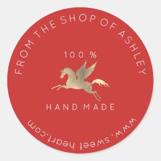Adesivo Redondo Ouro Handmade do vermelho do cavalo de Pegasus da