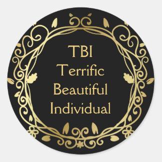 Adesivo Redondo Ouro individual bonito óptimo de TBI no preto