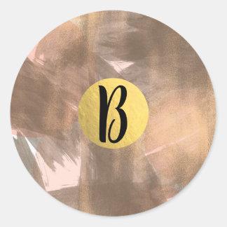 Adesivo Redondo Ouro moderno chique de bronze do monograma do