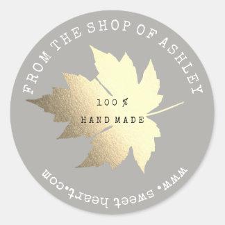 Adesivo Redondo Ouro Pastel cinzento da Web Handmade da folha de