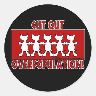 Adesivo Redondo Overpopulation cortado! Cães