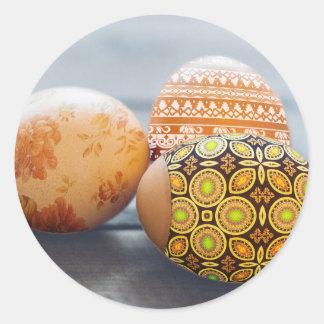 Adesivo Redondo Ovos da páscoa pintados rústicos