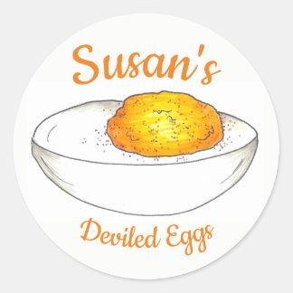 Adesivo Redondo Ovos de Deviled personalizados feitos pelo