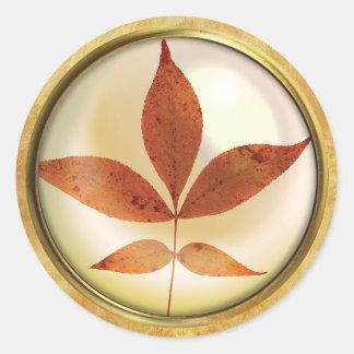 Adesivo Redondo Oxidação da folha da árvore do outono
