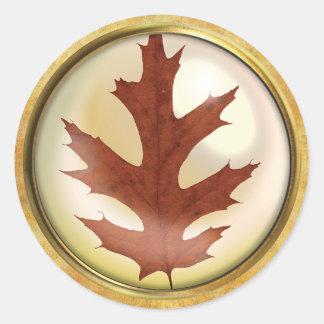 Adesivo Redondo Oxidação da folha do carvalho do outono