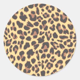 Adesivo Redondo Padrões da pele animal do impressão do leopardo