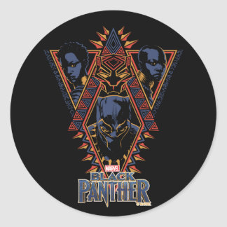 Adesivo Redondo Painel tribal dos guerreiros da pantera preta |