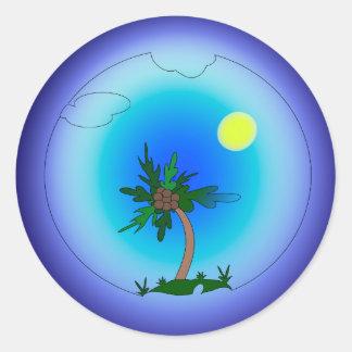 Adesivo Redondo Palmeira no mar