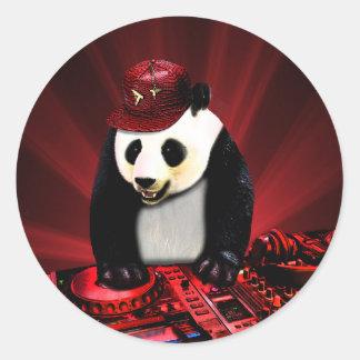 Adesivo Redondo Panda do disco-jóquei