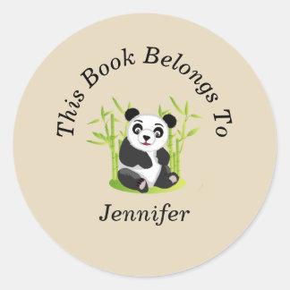 Adesivo Redondo Panda pequena bonito de volta à escola