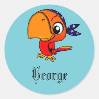 Adesivo Redondo Papagaio azul do pirata personalizado