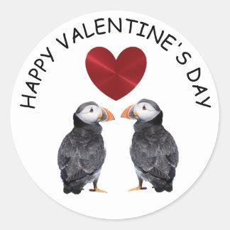 Adesivo Redondo Papagaio-do-mar do feliz dia dos namorados e