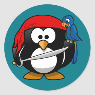 Adesivo Redondo Papagaio do pinguim do pirata