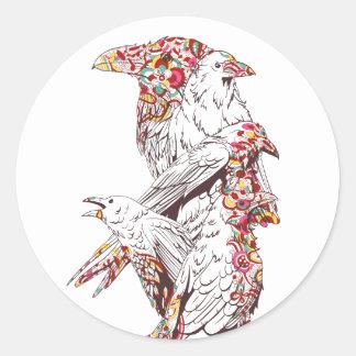Adesivo Redondo papagaios bonitos e animais do vintage