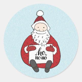 Adesivo Redondo Papai noel bonito que tira o Natal