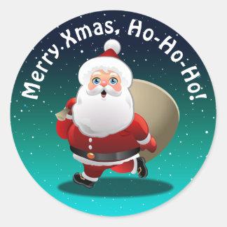 Adesivo Redondo Papai Noel feliz com um cheio do saco dos