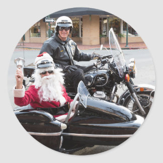 Adesivo Redondo Papai Noel no side-car da motocicleta